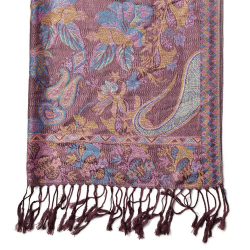 Multi Colour Floral and Paisley Pattern Purple Colour Scarf with Fringes (Size 170x70 Cm)