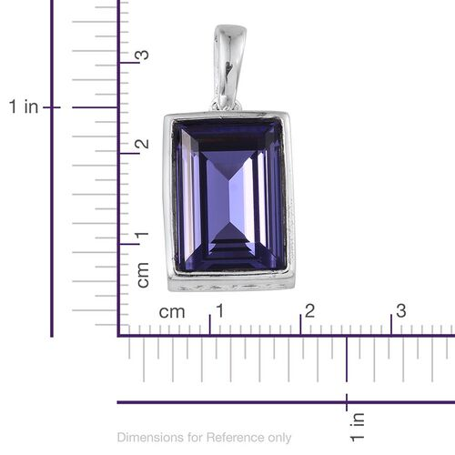 J Francis Crystal from Swarovski - Tanzanite Colour Crystal (Bgt) Solitaire Pendant in Sterling Silver