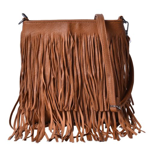 Chocolate Colour Crossbody Bag with Tassels and Adjustable and Removable Shoulder Strap (Size 26x24.5 Cm)