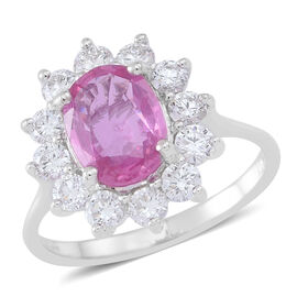 ILIANA 18K W Gold Very Rare AAAA Pink Sapphire (Ovl 2.00 Ct), Diamond Ring 3.000 Ct.