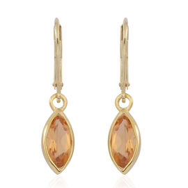 Citrine (Mrq) Lever Back Earrings in Yellow Gold Overlay Sterling Silver 2.000 Ct.