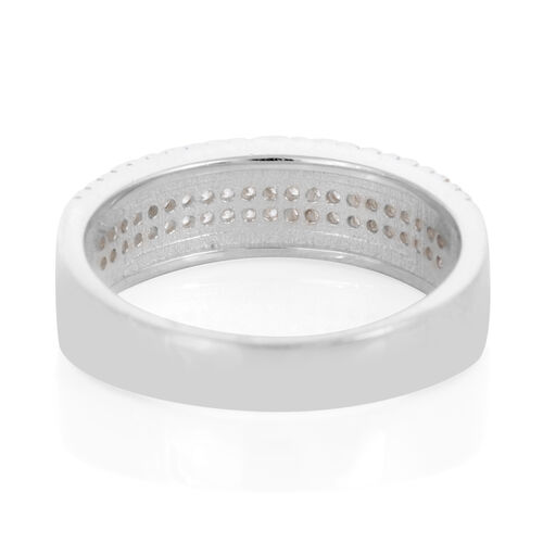 ELANZA AAA Simulated Diamond (Rnd) Ring in Rhodium Plated Sterling Silver 0.750 Ct.