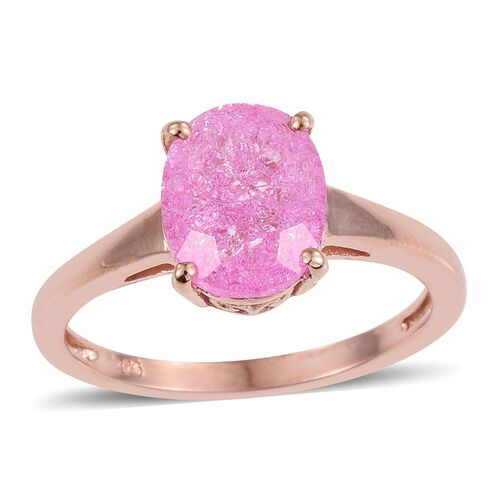 Hot Pink Crackled Quartz (Ovl) Solitaire Ring in Rose Gold Overlay Sterling Silver 2.500 Ct.