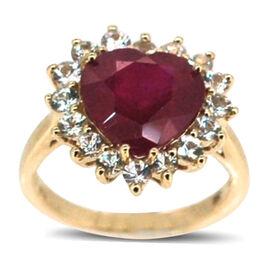 African Ruby (Hrt 5.50 Ct), Natural Cambodian White Zircon Ring in 14K Gold Overlay Sterling Silver 6.500 Ct.