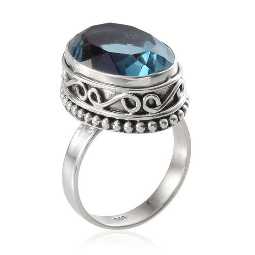 Jewels of India River Quartz (Ovl) Solitaire Ring in Sterling Silver 14.470 Ct.