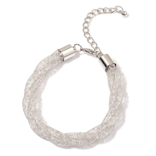 White Austrian Crystal Bracelet (Size 7.5 with Extender) in Silver Tone