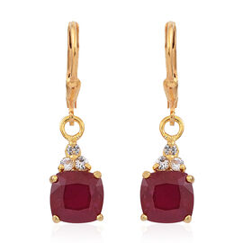 African Ruby (Cush), White Topaz Lever Back Earrings in 14K Gold Overlay Sterling Silver 6.500 Ct.