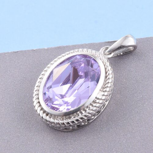 J Francis Crystal from Swarovski - Violet Crystal (Ovl) Solitaire Pendant in Platinum Overlay Sterling Silver
