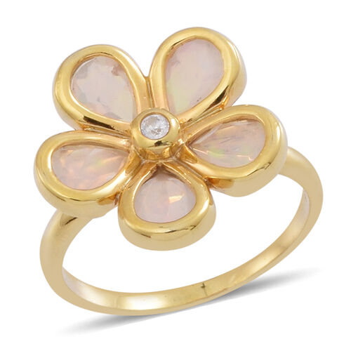 Ethiopian Welo Opal (Pear), White Zircon Floral Ring in 14K Gold Overlay Sterling Silver 2.250 Ct.