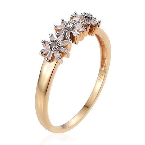 Diamond (Rnd) Triple Floral Ring in 14K Gold Overlay Sterling Silver 0.330 Ct.