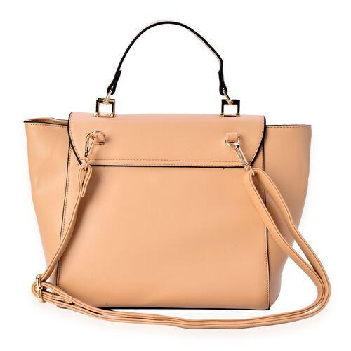 Beige Color Top Handle Bag with Adjustable and Removable Shoulder Strap (Size 35x25x10 Cm)