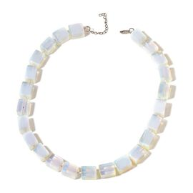 Opalite Necklace (Size 18 with 1 inch Extender) in Silver Tone 630.000 Ct.