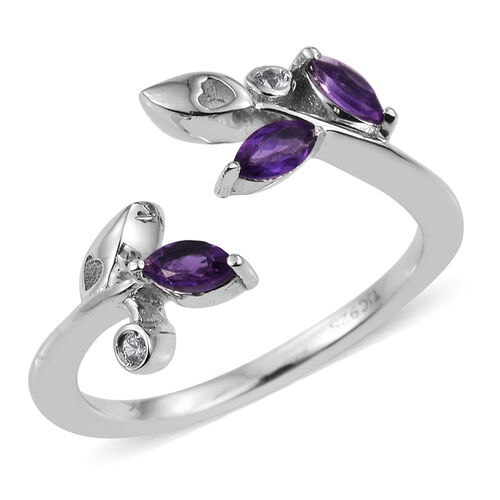 Kimberley Wild At Heart Collection Amethyst (Mrq), Natural Cambodian Zircon Ring in Platinum Overlay Sterling Silver