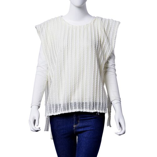 White and Off White Colour Poncho (Size 80x50 Cm)
