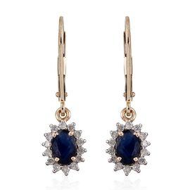 9K Y Gold Kanchanaburi Blue Sapphire (Ovl), Diamond Lever Back Earrings 1.500 Ct.