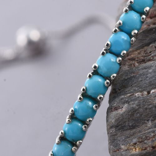 Arizona Sleeping Beauty Turquoise (Rnd) Adjustable Bracelet (Size 6.5 to 9) in Platinum Overlay Sterling Silver 2.000 Ct.