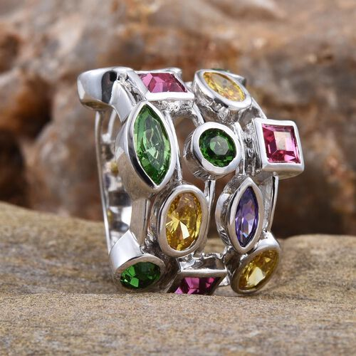 J Francis Crystal from Swarovski - Peridot Colour Crystal (Mrq), Swarovski Rose Crystal, Swarovski Fern Green Crystal, Simulated Citrine and Simulated Tanzanite Ring in ION Plated Platinum Bond