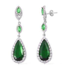 Simulated Emerald and Simulated White Diamond Earrings (with Push Back) in Rhodium Plated Sterling Silver