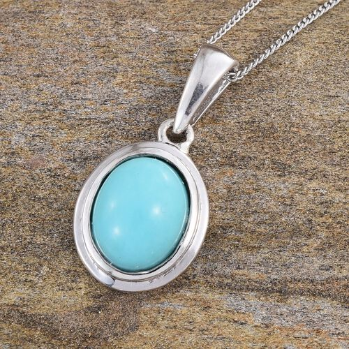 Sonoran Turquoise (Ovl) Solitaire Pendant With Chain in Platinum Overlay Sterling Silver 2.000 Ct.
