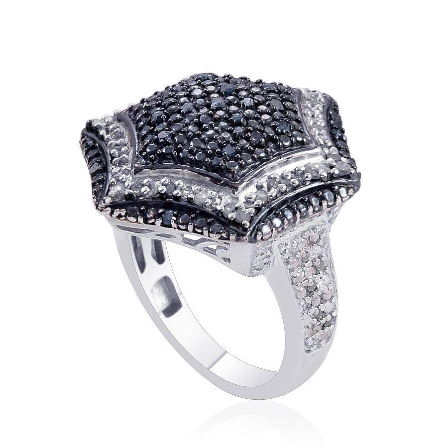 Blue Diamond Platinum: Diamond (Rnd), Blue Diamond Ring In Platinum Overlay