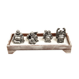Home Decor - Silver Colour Resin Four Laughing Buddha with Sand and Stones in Rectangle Shape Base with Wodden Zen Rake
