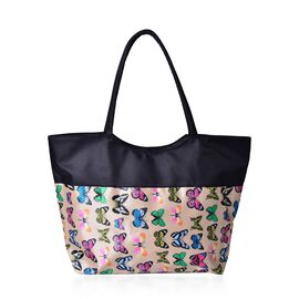 Multi Colour Butterfly Pattern Black and Beige Colour Tote Bag (Size 52X38X32X15.5 Cm)