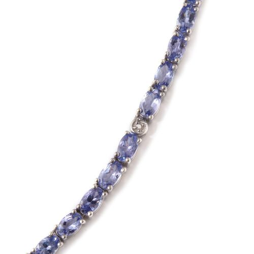 AA Tanzanite (Ovl), Diamond Necklace (Size 18) in Platinum Overlay Sterling Silver 20.600 Ct.