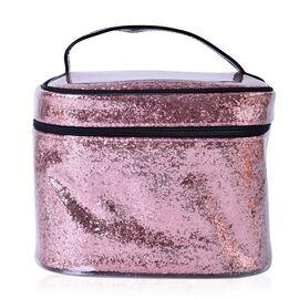 Pink Colour PVC Cosmetic Bag (Size 23x16x16 Cm)