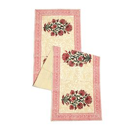 100% Cotton White, Red and Multi Colour Hand Block Printed Floral Pattern Runner (Size 170x40) with Two Napkins (Size 40x40)