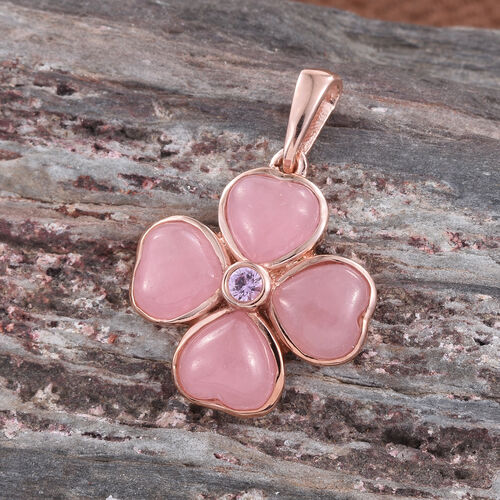 Pink Jade (Hrt), Pink Sapphire Pendant in Rose Gold Overlay Sterling Silver 4.000 Ct.
