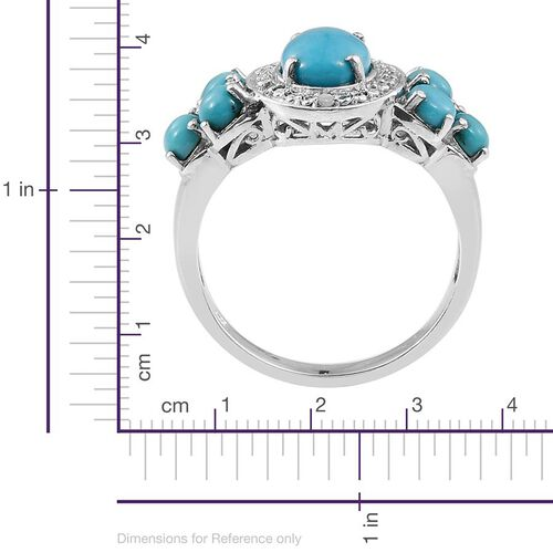 Sonoran Turquoise (Ovl 1.50 Ct), Diamond Ring in Platinum Overlay Sterling Silver 2.780 Ct.