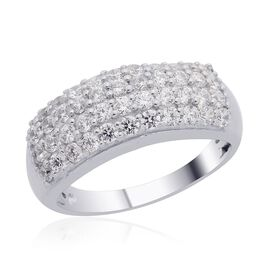 J Francis- Platinum Overlay Sterling Silver (Rnd) Ring Made with SWAROVSKI ZIRCONIA 1.320 Ct.