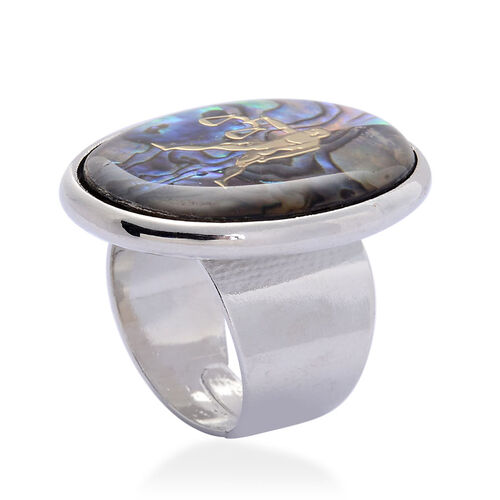 Abalone Shell Zodiac Libra Adjustable Ring in Silver Tone 25.000 Ct.