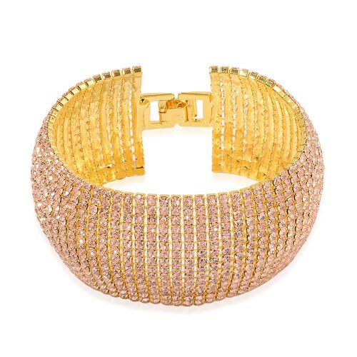 Champagne Austrian Crystal Bracelet (Size 8) in Gold Tone