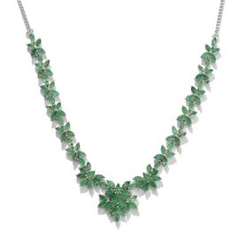 Kagem Zambian Emerald (Mrq) Necklace (Size 18) in Platinum Overlay Sterling Silver 12.250 Ct.