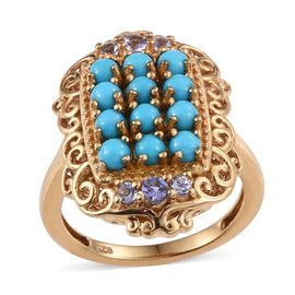 Arizona Sleeping Beauty Turquoise (Rnd), Tanzanite Ring in 14K Gold Overlay Sterling Silver 1.750 Ct.