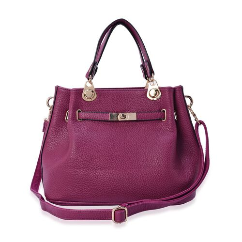 Fuchsia Colour Tote Bag with Adjustable and Removable Shoulder Strap (Size 31.5x24x16 Cm)