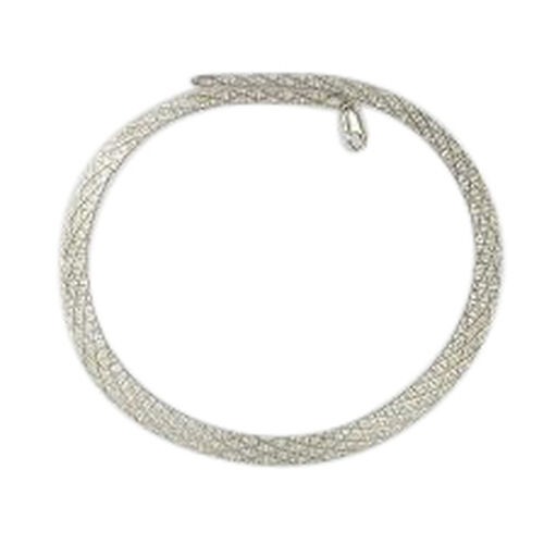 (Option 2) Vicenza Collection Rhodium Plated Sterling Silver Cubetto Cleopatra Chain (Size 18), Silver wt 27.11 Gms.