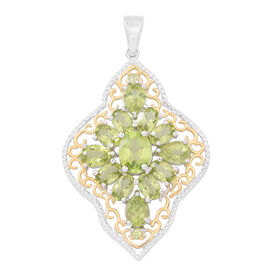 Hebei Peridot (Ovl) Pendant in Rhodium and Yellow Gold Overlay Sterling Silver 9.260 Ct. Silver wt 6.65 Gms.