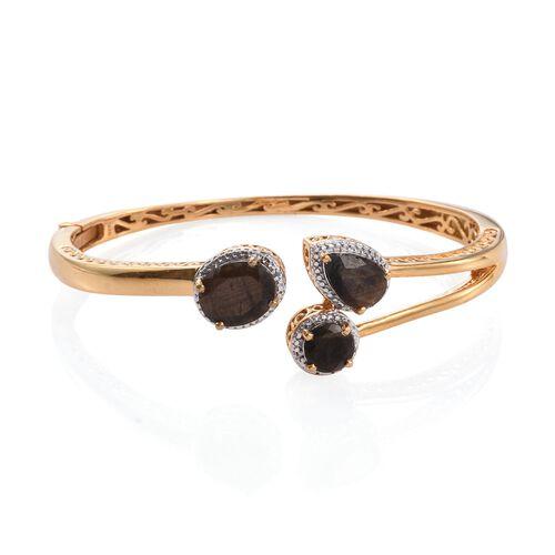 Natural Zawadi Golden Sheen Sapphire (Ovl), Diamond Bangle (Size 7.5) in 14K Gold Overlay Sterling Silver 12.750 Ct.