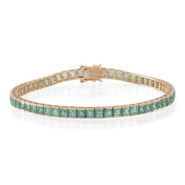 Limited Edition 9K Y Gold AAA Kagem Zambian Emerald (Sqr) Tennis Bracelet (Size 7.5) 10.000 Ct.