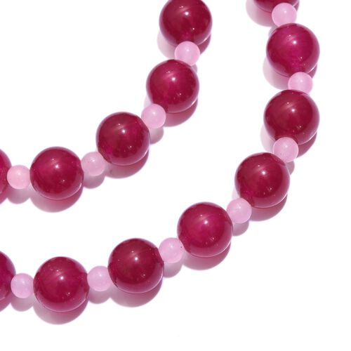 Magenta Quartzite and Quartsite Necklace (Size 18) and Bracelet (Size 8) in Silver Tone with Stainless Steel 367.330 Ct.