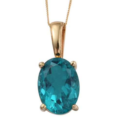 Capri Blue Quartz (Ovl) Pendant With Chain in 14K Gold Overlay Sterling Silver 13.000 Ct.