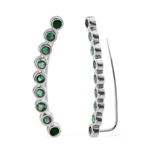 Kagem Zambian Emerald (Rnd) Climber Earrings in Platinum Overlay Sterling Silver 1.750 Ct.