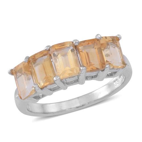 Citrine (Oct) 5 Stone Ring in Rhodium Plated Sterling Silver 2.500 Ct.