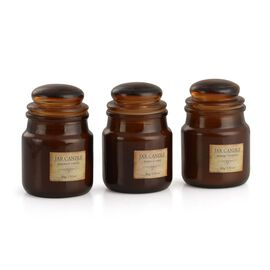 Set of 3 - Scented Apothecary Jar Candles with Coconut Vanilla, Tropical Oasis and Orange Blossom Fragrances.
