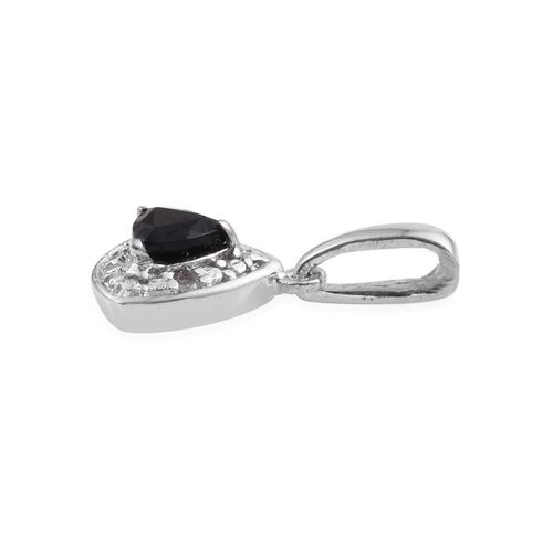 Boi Ploi Black Spinel 0.50 Carat Trillion Pendant and Earrings in Platinum Overlay with Diamonds