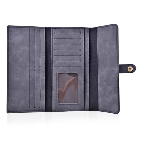 Black Colour Ladies Wallet (Size 19.5x10 Cm), Simulated Black Diamond Filled Ball Pen in Silver Tone with RFID Blocker Black Colour 4 Card Holder
