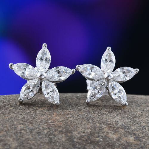9K White Gold Floral Stud Earrings(with Push Back) Made with SWAROVSKI ZIRCONIA