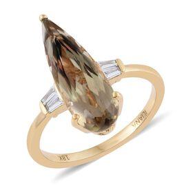 ILIANA 18K Yellow Gold 3.40 Carat Pear AAA Turkizite Ring With Diamond SI G-H
